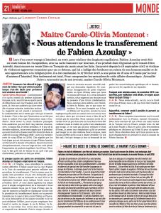 Carol-Olivia MONTENOT dans Actualité juive sur l'affaire de Fabien AZOULAY